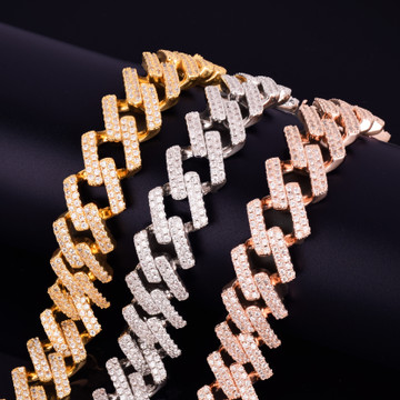 Flooded Ice 24k Rose Gold Silver 18mm Big Square Miami Cuban Link Hip Hop Bracelet