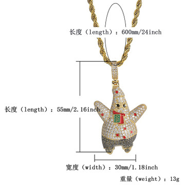Flooded Ice Patrick Star Fish Hip Hop AAA Micro Pave Stone Money Pendant Chain Necklace