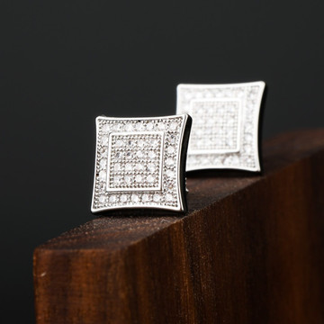 AAA Micro Pave Double Squared Hip Hop 14k Gold 925 Silver Flooded Ice Earrings