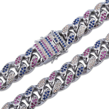 18mm Wide AAA Micro Pave Miami Cuban Link 4 Colors 14k Gold Silver Chain Bracelet