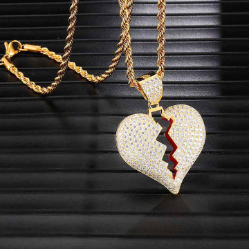 Hip Hop Flooded Ice Heart Breaking 14k Gold Pendant Chain Necklace