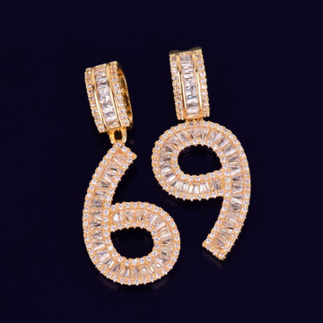 AAA True Micro Pave 18k Rose Gold Silver Flooded Ice Baguette Numbers Hip Hop Pendant Chains