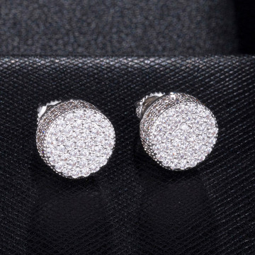 Cluster Stone AAA True Micro Pave .925 Silver Hip Hop Screw Back Earrings