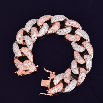 Rose Gold Silver Flooded Ice 22mm Colorful Baguette AAA Stone Miami Cuban Link Bracelet