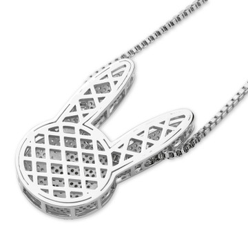 Miami Bad Bunny AAA Micro Pave Hip Hop 14k Gold Silver Rose Gold Pendant Chain Necklace