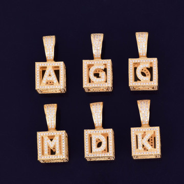 18k Gold .925 Silver Baby Block Stereoscopic Square Flooded Ice Initial Letter AAA Micro Pave Pendant Chain Necklace