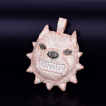 Growling Spiked Collar Pitbull Dog Head AAA Micro Pave 18k Gold Rose Gold Silver Hip Hop Pendant Chain