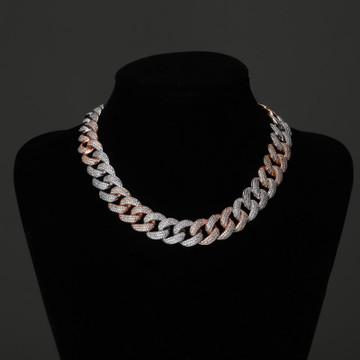 Miami Cuban Link 18MM AAA Micro Pave Hip Hop Silver Rose Gold Chain Necklace