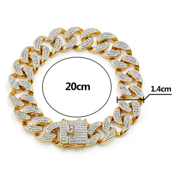 Hip Hop 14mm AAA True Micro Pave Flooded Ice Gold Silver Cuban Link Bracelet