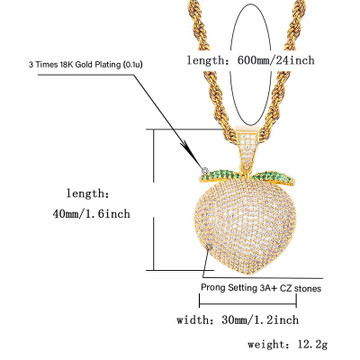 Silver 18k Rose Gold Bling AAA Micro Pave Sweet Peach Pendant Chain Necklace