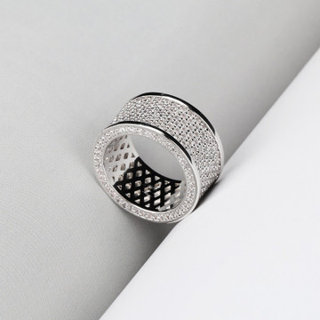 Silver Black Micro Pave Bling AAA Thick Round Hip Hop Ring
