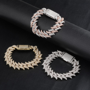 16mm Thorns Miami Cuban Link Lock Clasp AAA Micro Pave Bracelet