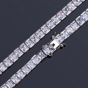 Princess Cut AAA 4mm Flooded Ice 14k Gold .925 Silver Bling Square Tennis Bracelet