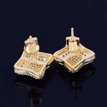 11MM 14k Gold Silver Cracked Square Men's Stud Big Boy Bling Screw Back Earrings