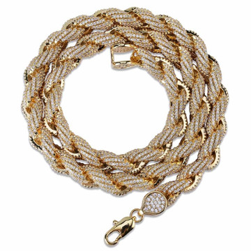 Flooded Ice AAA Micro Pave 8mm 18k Gold Silver Rope Hip Hop Chain Necklace