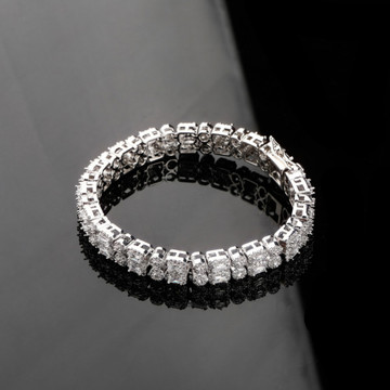 Double Row AAA Micro Pave Round Square 10mm  Gold Silver Big Boy Bracelet