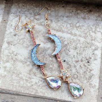 Ladies Gold Moon Star Crystal Drops Tassel Stud Fashion Earrings Set