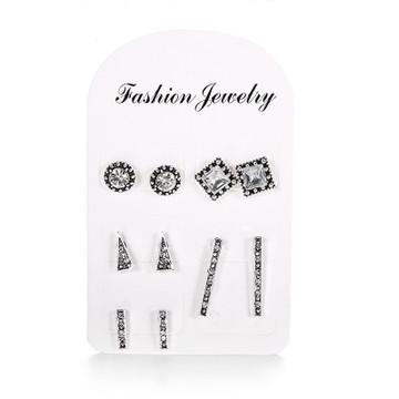 Ladies Boho Retro Triangle Round Geo Crystal Silver Bling Earrings Set