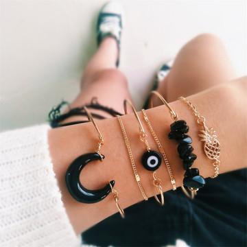 Black Gem Moon Eye 6 Pcs Boho Pineapple Chain Beaded Gold Bracelet Set