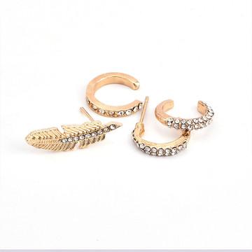 Ladies Single Ear 4 Pcs/Set Bohemian Crystal Leaf Round Gold Ear Clip Set