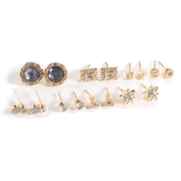 Ladies 16 Pcs Fashion Stud Earrings Gold Stars Crystal Jewelry Set