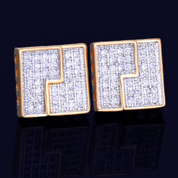 10MM Big Boy Slab Square Stud Screw Back Gold Silver Bling AAA True Micro Pave Earrings