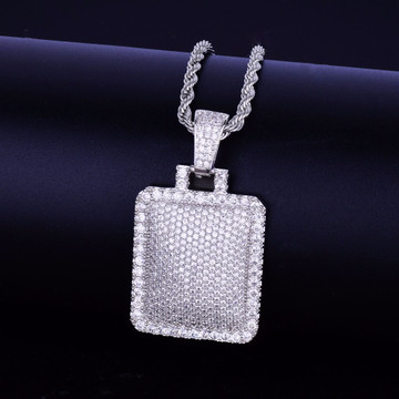 .925 Sterling Silver Flooded Ice Hip Hop Pendant
