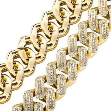 18mm Prong Setting Miami Cuban Link Big Clasp Flooded Ice Bling Bracelet