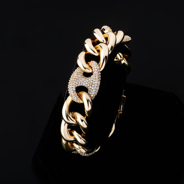 925 Silver Rose 14k Gold 16mm Box Clasp Miami Cuban Link Flooded Ice Hip hop Bracelet