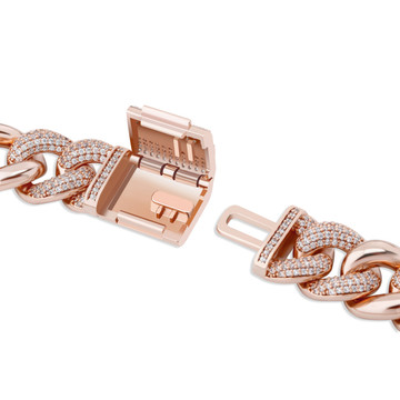 Men's 16mm Rose 14k Gold .925 Silver Designer Miami Cuban Link AAA Iced Hip Hop Bracelet