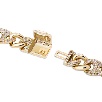 AAA Micro Pave Rose Gold 925 Silver 14k 16mm Buckle Clasp Cuban Link Hip Hop Chain Necklace