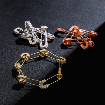 14k Gold .925 Silver Rose Gold AAA Micro Pave Safety Pin Hip Hop Bracelet