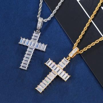 AAA Baguette Stone Prong Set Medium Flooded Ice Hip Hop Cross Pendant