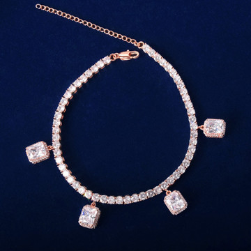 AAA Simulated Diamond Stone 24k Rose Gold .925 Silver Tennis Ruby White Bling Bracelet