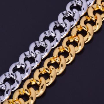 14k Gold .925 Silver Mens Hip Hop Handset Set AAA Stone Cuban Link Bracelet