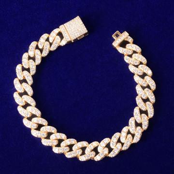 24k Gold .925 Silver Rose Gold Miami Cut Cuban Link 10mm Flooded Ice Bracelets