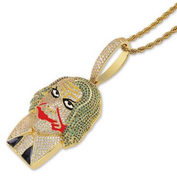 Flooded Ice 14k Gold Joker Villian Hop Hop AAA True Micro Pave Bling Pendant Chain Necklace