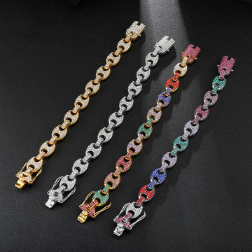 Flooded Ice Cluster Stone G-Link Coffee Bean Hip Hop Chain Necklace Set
