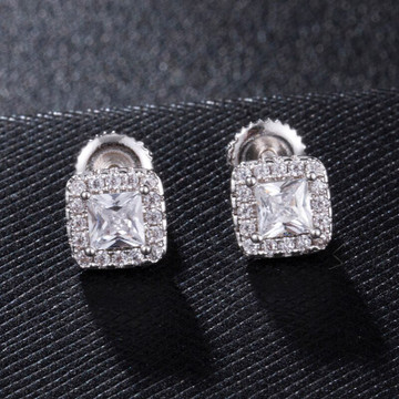 925 Silver 18k Gold 7mm Centerstone Cluster Flooded Ice Hip Hop Screw Back Earrings