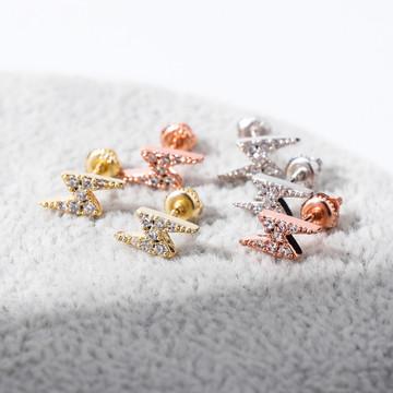 925 Solid Sterling Silver Rose Gold Lightning Bolt  AAA Prong Set Stone Bling Earrings