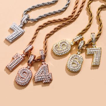 Iced Baguette AAA Prong Set Cluster Digital Numbers Hip Hop Pendants