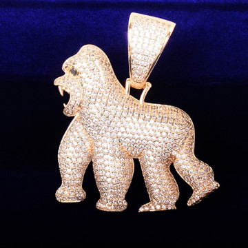 18k AAA True Micro Pave Its Real in The Field Apeshit Gorilla Chain