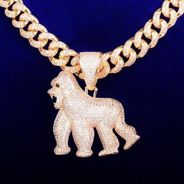18k Gold Real In The Field Apeshit Gorilla Pendant