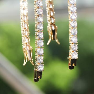 Flooded Ice 4mm 6mm 14k Gold Over Solid Sterling Silver Hip Hop Tennis Bracelet
