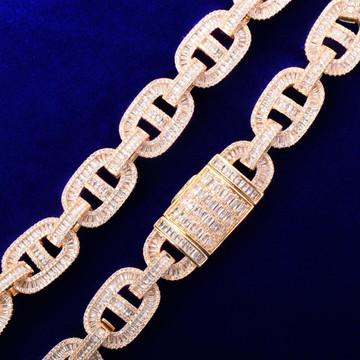 18mm Flooded Ice AAA Full Baguette 24k Gold .925 Silver Big Boy Baller Bracelet
