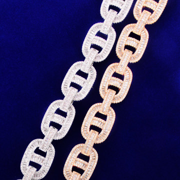 24k Gold 925 Silver 18mm Flooded Ice True Baguette Stone Big Boy Baller Cuban Link Chain