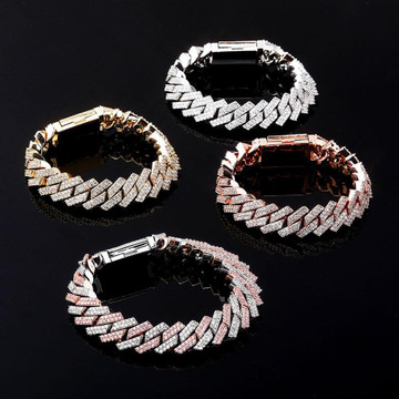 14mm Flooded Ice High Quality Micro Pave AAA Stone Close Cut Cuban Hip Hop Bracelet
