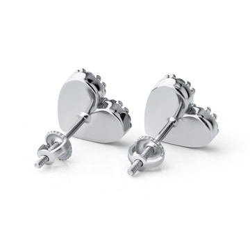 Sterling Silver AAA Flooded Ice Stone Heart Shaped Bling Stud Earrings 925