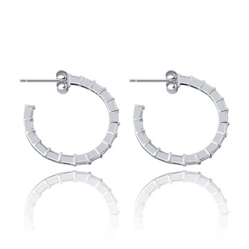 Flooded Ice All Baguette 925 Sterling Silver 24mm Round Circle Hoop Earrings