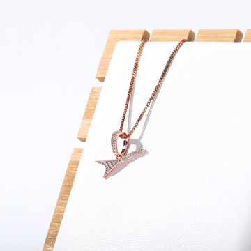 White Rose Gold Silver 925 Sterling Silver 80's Rocker Guitar Street Rock Micro Pendant Chain Necklace